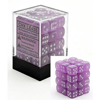 Chessex -  D6 Dice Frosted 12mm Purple/White (36 Dice in Display)