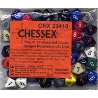 Chessex -  BULK D10 Dice Assorted Loose Opaque Polyhedral (50 Dice in Bag)