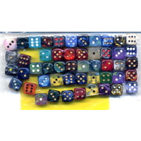 Chessex -  BULK D6 Dice Assorted Loose Signature 12mm with Pips (50 Dice in Bag)