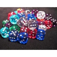 Chessex -  BULK D6 Dice Assorted Loose Translucent 16mm with Pip (50 Dice in Bag)