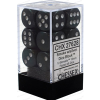 Chessex -  D6 Dice Borealis 16mm Smoke/Silver (12 Dice in Display)