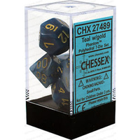 Chessex -  D7-Die Set Dice Phantom Polyhedral Teal/Gold (7 Dice in Display)