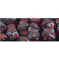 Chessex -  D7-Die Set Dice Velvet Polyhedral Black/Red (7 Dice in Display)