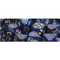 Chessex -  D7-Die Set Dice Scarab Polyhedral Royal Blue/Gold (7 Dice in Display)