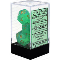 Chessex -  D7-Die Set Dice Borealis Polyhedral Light Green/Gold (7 Dice in Display)