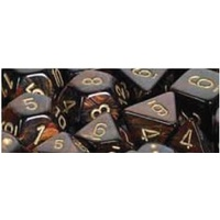Chessex -  D7-Die Set Dice Scarab Polyhedral Blue Blood/Gold (7 Dice in Display)