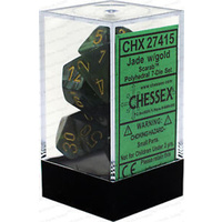 Chessex -  D7-Die Set Dice Scarab Polyhedral Jade/Gold (7 Dice in Display)