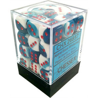Chessex -  D6 Dice Gemini 12mm Astral Blue-White/Red (36 Dice in Display)