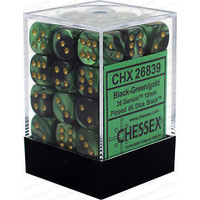 Chessex -  D6 Dice Gemini 12mm Black-Green/Gold (36 Dice in Display)