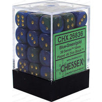 Chessex -  D6 Dice Gemini 12mm Blue-Green/Gold (36 Dice in Display)