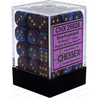 Chessex -  D6 Dice Gemini 12mm Blue-Purple/Gold (36 Dice in Display)