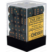 Chessex -  D6 Dice Opaque 12mm Dusty Green/Copper (36 Dice in Display)