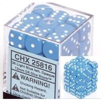 Chessex -  D6 Dice Opaque 12mm Light Blue/White (36 Dice in Display)