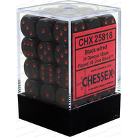 Chessex -  D6 Dice Opaque 12mm Black/Red (36 Dice in Display)