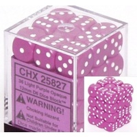 Chessex -  D6 Dice Opaque 12mm Light Purple/White (36 Dice in Display)