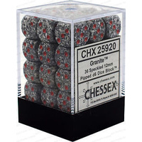 Chessex -  D6 Dice Speckled 12mm Granite (36 Dice in Display)