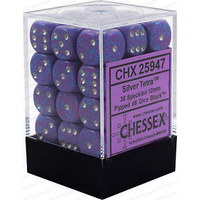 Chessex -  D6 Dice Speckled 12mm Silver Tetra (36 Dice in Display)