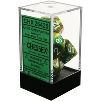 Chessex -  D7-Die Set Dice Gemini Polyhedral Gold-Green/White (7 Dice in Display)