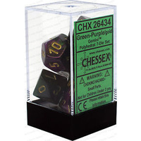 Chessex -  D7-Die Set Dice Gemini Polyhedral Green-Purple/Gold (7 Dice in Display)