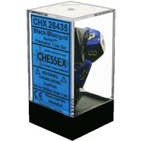 Chessex -  D7-Die Set Dice Gemini Polyhedral Black-Blue/Gold (7 Dice in Display)