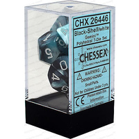 Chessex -  D7-Die Set Dice Gemini Polyhedral Black-Shell/White (7 Dice in Display)