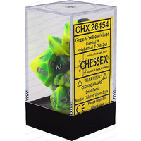 Chessex -  D7-Die Set Dice Gemini Polyhedral Green-Yellow/Silver (7 Dice in Display)