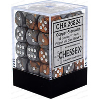 Chessex -  D6 Dice Gemini 12mm Copper-Steel/White (36 Dice in Display)