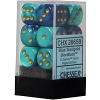 Chessex -  D6 Dice Gemini 16mm Blue-Teal/Gold (12 Dice in Display)