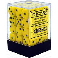 Chessex -  D6 Dice Opaque 12mm Yellow/Black (36 Dice in Display)