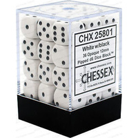 Chessex -  D6 Dice Opaque 12mm White/Black (36 Dice in Display)