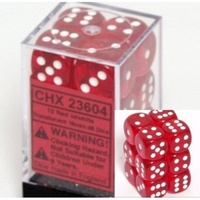 Chessex -  D6 Dice Translucent 16mm Red/White (12 Dice in Display)
