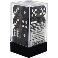 Chessex -  D6 Dice Translucent 16mm Smoke/White (12 Dice in Display)