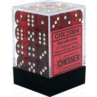 Chessex -  D6 Dice Translucent 12mm Red/White (36 Dice in Display)