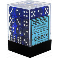 Chessex -  D6 Dice Translucent 12mm Blue/White (36 Dice in Display)