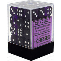 Chessex -  D6 Dice Translucent 12mm Purple/White (36 Dice in Display)