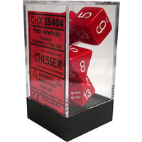 Chessex -  D7-Die Set Dice Opaque Polyhedral Red/White (7 Dice in Display)