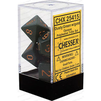 Chessex -  D7-Die Set Dice Opaque Polyhedral Dusty Green/Copper (7 Dice in Display)