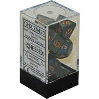 Chessex -  D7-Die Set Dice Opaque Polyhedral Dark Grey/Copper (7 Dice in Display)