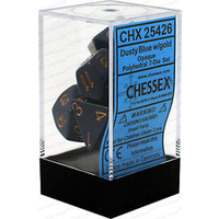 Chessex -  D7-Die Set Dice Opaque Polyhedral Dusty Blue/Copper (7 Dice in Display)