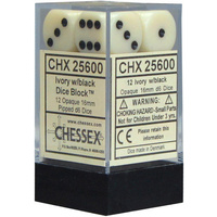 Chessex -  D6 Dice Opaque 16mm Ivory/Black (12 Dice in Display)