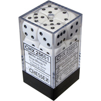 Chessex -  D6 Dice Opaque 16mm White/Black (12 Dice in Display)