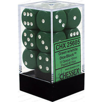 Chessex -  D6 Dice Opaque 16mm Green/White (12 Dice in Display)