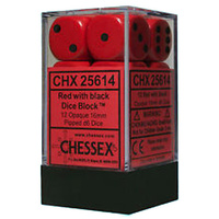 Chessex -  D6 Dice Opaque 16mm Red/Black (12 Dice in Display)
