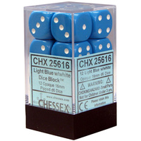 Chessex -  D6 Dice Opaque 16mm Light Blue/White (12 Dice in Display)