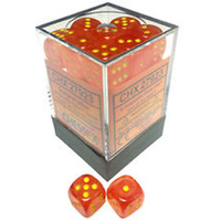 Chessex -  D6 Dice Ghostly Glow 12mm Orange/Yellow (36 Dice in Display)