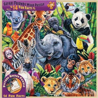 Safari Friends Wood Fun Facts Puzzle 48pc