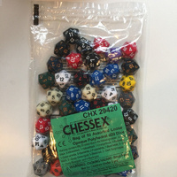 Chessex -  BULK D20 Dice Assorted Loose Opaque Polyhedral (50 Dice in Bag)
