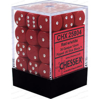 Chessex -  D6 Dice Opaque 12mm Red/White (36 Dice in Display)