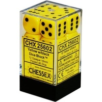 Chessex -  D6 Dice Opaque 16mm Yellow/Black (12 Dice in Display)