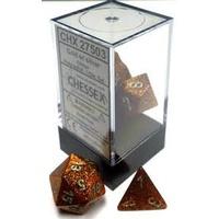 Chessex -  D7-Die Set Dice Glitter Polyhedral Gold/Silver (7 Dice in Display)